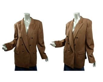 Vintage Slouchy Aquascutum Jacket ~ Wool Double Breasted ~ Size 16 XL ~ Camel Colored ~ Plus Size