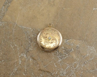 Gold Filled Ornate Scroll Etched Diamond Inset Rounded Locket Pendant