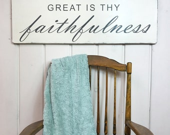 "Hymn wall art | Great is thy faithfulness sign | christian sign | rustic painted wood sign | 36"" x 11.25"""