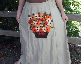 Long Linen Skirt, Vintage Applique, Handmade Yarn Flowers, Flower Bouquet, Unique Clothing, Upcycled Skirt, Recycled Skirt, Size 10, Boho