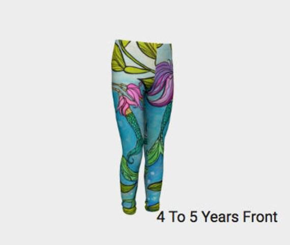 YOUTH Little Girls Mermaid Leggings  4/5T-10/12 Youth, Little Girls Original design by Lauren Tannehill Art