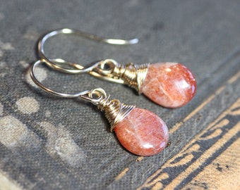 Sunstone Earrings Gold Wire Wrapped Briolette Earrings Orange Gemstone Earrings 14k Gold Filled Rustic Jewelry