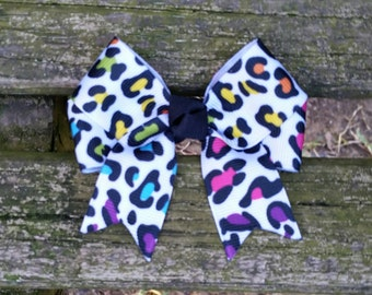 Colorful Leopard Print Hair Bow (3 inch).