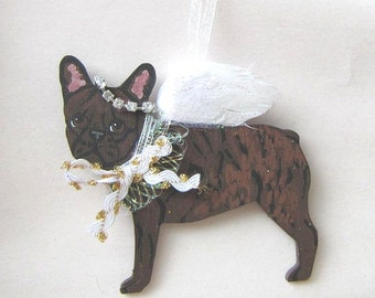 Hand-Painted FRENCH BULLDOG BRINDLE Feathered Wing Angel Wood Christmas Ornament.....Artist Original