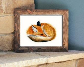 Sleeping Fox Giclee Print of Oiginal Watercolor by Muskoka Fox Designs