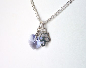 Childrens Initial Necklace - CHOOSE CHARM, Kids Personalized Necklace, Lavender, Crystal Heart Necklace, Childrens Jewelry, Sterling Silver