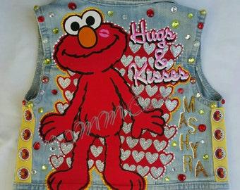 Custom Elmo denim vest, Kids Denim Vest, Custom Denim Vest, Custom Jean Jacket, Custom Jean Vest, Kids Jean Jacket