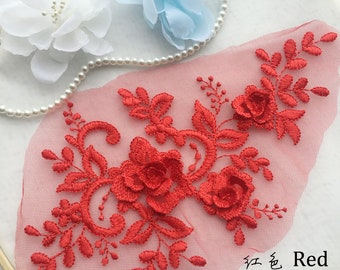 6 Colors 3D Flower Lace Apppliques in Gold Gray Navy Blue Off White Wine Red For Prom Evening Dress
