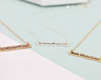 Personalized bar name necklace • Kids name plate necklace •  Gold Layering necklace • Bar necklace • Engraved necklace - Mother's Day