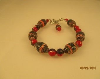 Red Black and Pink Paper Bead Bracelet