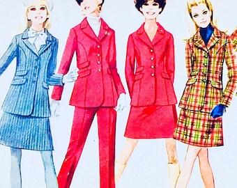 1960s UNCUT Bust 36 Simplicity Misses Jacket Skirt and Pants Size 14 c1968 7827