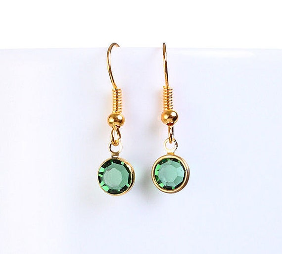 Bridesmaid gift - Petite green Austrian crystal round gold dangle earrings (697)
