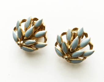 Vintage Blue Enamel Earrings