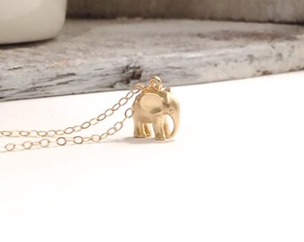 Gold Elephant Necklace, Gold Charm Necklace, Gold Filled Necklace, Dainty Light Necklace, Small Dainty Necklace, Good Luck Necklace