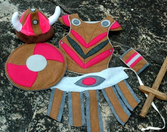 Viking Costume Gift Set - PINK and BROWN -  Kid Costume, Adventure Gear