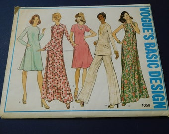 """Vintage 70's Vogue #1059 Sewing Pattern Women's Tunic- Dress and Pants Waist 37"""" Bust 44"""""""