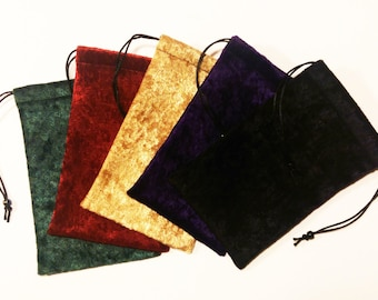 "Velvet Tarot Bag Drawstring 5""x7""  Fully lined, Silk lining option, Velvet Pouch for Cards Runes"