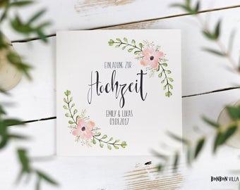 30 x wedding invitation * Bloomy *.