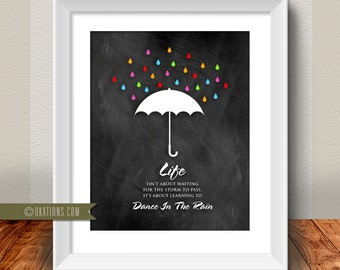 Life isn't about waiting for the storm to pass. It's about learning to dance in the rain - Chalkboard - Instant Download - DIY printable