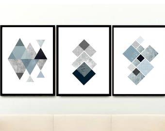 Grey Geometric Wall Art, Triptych, Set of 3 Prints, Minimalist Prints, Geometric Prints, Abstract Art Prints, Giclee prints, Wall Art