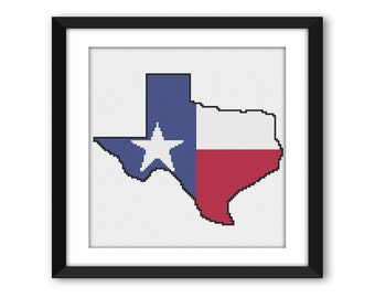 PDF - Texas State Flag Outline Cross Stitch Pattern