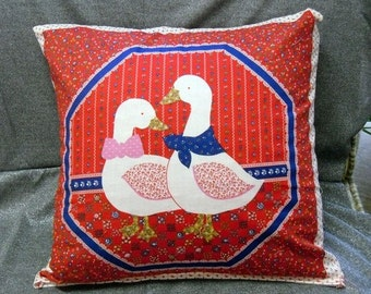 Throw Pillow Cover,  Duck Couple on Red, Back and Front, 15 inch