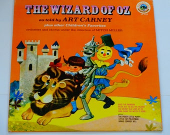 """The Wizard of Oz as told by Art Carney - Mitch Miller - """"Over the Rainbow"""" - Golden Records - VIntage Children's VInyl LP Record ALbum"""