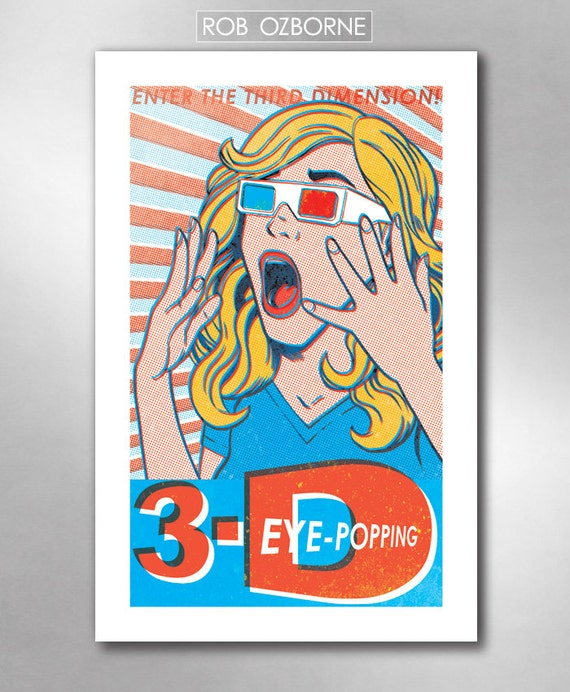 3-D Girl Comic Book Modern Pop 11x17 Art Print by Rob Ozborne