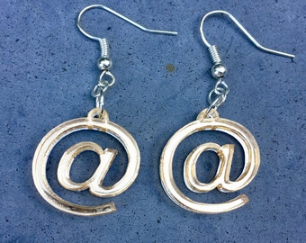 At Sign Geeky Computer Earrings - Laser cut in Gold Acrylic