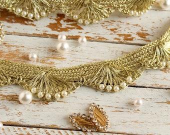 Gold Beaded Trim, Pearl Trim, Indian Fabric Trim, Bridal Wear Embellishment, Indian Ribbon- 1 yard