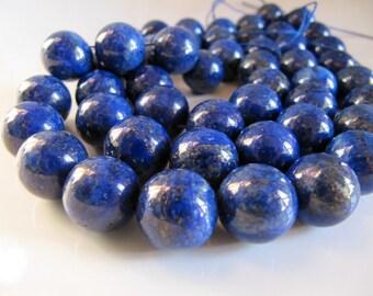 12mm LAPIS LAZULI Stone Beads in Dark Blue with Gold Pyrite Flecks, Dyed, Round, 1 Half Strand 7.5 Inches, 16 Beads