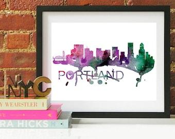 Portland Watercolor Skyline, Portland Skyline, Portland Art, Portland Poster, Portland Print, Portland Art, Portland Map, Portland Wall Art