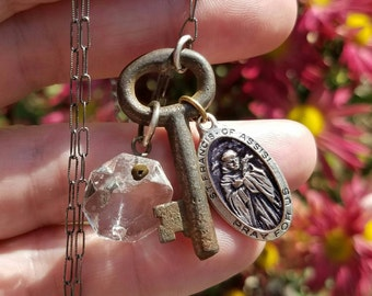 Vintage Skeleton Key Necklace -Sterling Silver Chain with Antique Chandelier Crystal and Vintage Religious Medal Accents - Handmade