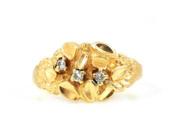 Gold Nugget & Diamond Ring - X4450
