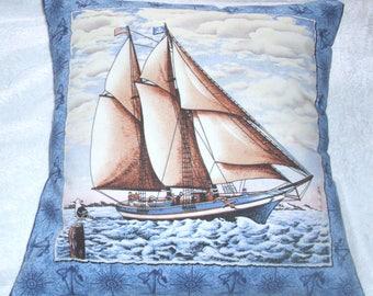 yacht sailing on a calm sea cushion