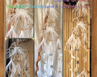 Strings & pebbles white ostrich feather Dreamcatcher