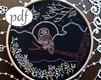 owl embroidery pattern, instant download pattern pdf - Embroidery pdf pattern, modern embroidery, DIY needlecraft, owl pattern, DIY hoop art