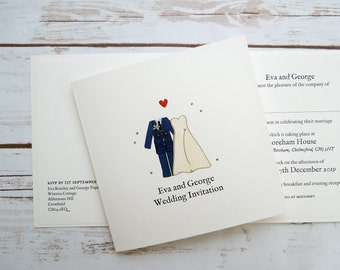 RAF (Royal Air Force) Bride and Groom Wedding/Evening Invitations