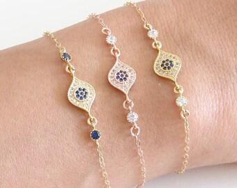 Sapphire Blue Evil Eye Bracelet. September Birthday. Choose Your Color. Pave Evil Eye with tiny CZ. Simple Modern Jewelry by petitBlue