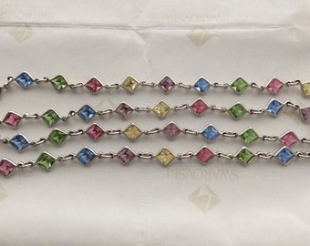 Swarovski Light Multi-Color Crystal 4mm Silver Square Channel Link Chain 19 inches