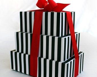 Set of 3 Large Rectangle Printable Boxes Black and White Stripe