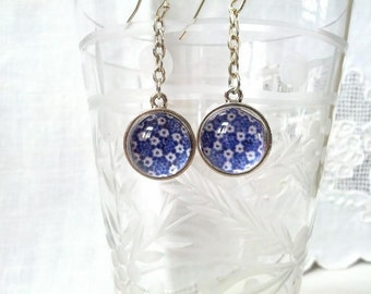China Blue Floral Glass Drop Earrings. Lovingly handmade in Brooklyn by Wishing Well Studio.