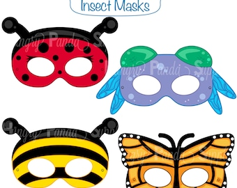 Insects Printable Masks, insect masks, ladybug mask, bee mask, dragonfly, butterfly, bumblebee, butterfly mask, paper masks, printable