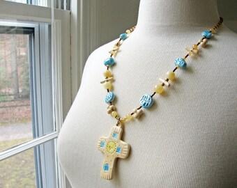 Golden Cross Necklace Handmade Beads