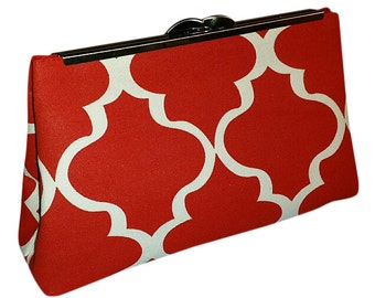 Ruby - Red & White Clutch Purse