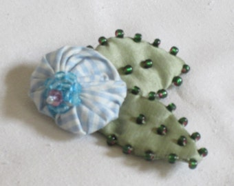 Handmade Hand Beaded Pale Blue and White Checkered Silk Flower Brooch - Beaded Flower Pin