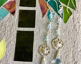 Hand Made Gemstone Earrings, Long Drop Earrings, Long Gemstone Earrings, Long Sand Dollar Earrings.