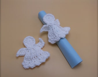 Easter Sale Crochet Angels  - decoration or applique - ready to ship