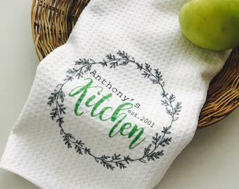 Personalized kitchen towels hand towels family kitchen towels custom dish towels housewarming gifts hostess gift