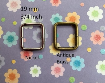 15 Rectangle Ring 3/4 Inch / 19mm Width (available in nickel and antique brass finish)